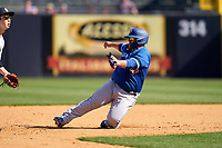 Toronto Blue Jays Alejandro Kirk (85) slides into second base during a Spring Training game against the New York Yankees on February 22, 2020 at the George M. Steinbrenner Field in Tampa, Florida.  (Mike Janes/Four Seam Images)