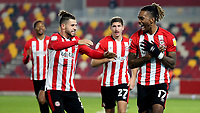 Ivan Toney celebrates scoring Brentford's second goal with Emiliano Marcondes during Brentford vs Queens Park Rangers, Sky Bet EFL Championship Football at the Brentford Community Stadium on 27th November 2020