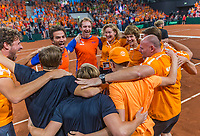 The Hague, The Netherlands, September 17, 2017,  Sportcampus , Davis Cup Netherlands - Chech Republic, Fifth match : Dutch team celebrates their win<br /> Photo: Tennisimages/Henk Koster