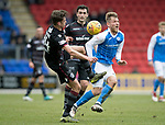 St Johnstone v Motherwell…07.04.18…  McDiarmid Park    SPFL<br />Barry Maguire takes out George Williams<br />Picture by Graeme Hart. <br />Copyright Perthshire Picture Agency<br />Tel: 01738 623350  Mobile: 07990 594431