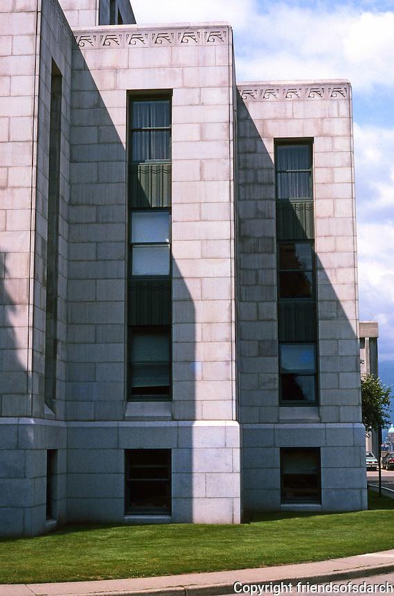 Vancouver: City Hall--Detail. Modernistic Frieze above each block.  Photo '86.