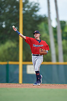 GCL Twins shortstop Keoni Cavaco (9) warmup throw to first base during a Gulf Coast League game against the GCL Pirates on August 6, 2019 at Pirate City in Bradenton, Florida.  GCL Twins defeated the GCL Pirates 1-0 in the second game of a doubleheader.  (Mike Janes/Four Seam Images)