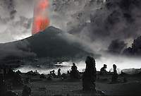 Volcano with petrified trees in foreground, Hawaii