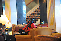 Grace Mugabe with red scarf and glasses,  (subject to identification) and friend in Hong Kong's, Kowloon 15th Jan 2005.<br /> <br /> photo © by Sinopix