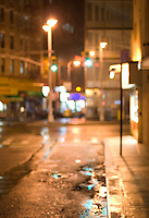 AVAILABLE FOR COMMERCIAL OR EDITORIAL LICENSING FROM GETTY IMAGES.  Please go to www.gettyimages.com and search for image # 163063386.<br /> <br /> Defocused Rainy Street Scene at Night near the Bowery, Chinatown, Lower Manhattan, New York City, New York State, USA