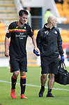 St Johnstone v Partick Thistle…19.08.17… McDiarmid Park… SPFL<br />Callum Booth limps off injured<br />Picture by Graeme Hart.<br />Copyright Perthshire Picture Agency<br />Tel: 01738 623350  Mobile: 07990 594431