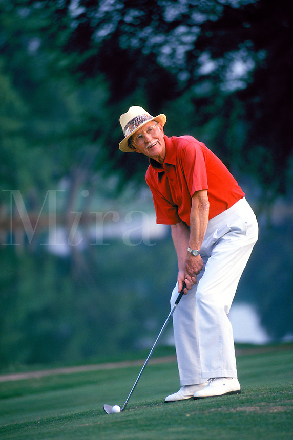 Smiling Senior man playing golf. senior man golfer. Georgia, golf course.