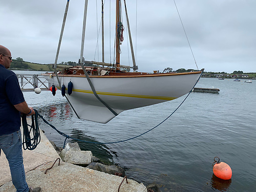 Glenoe as she is today, being launched at Whiterock after her restoration in Ardglass. Photo: Mike Stephens