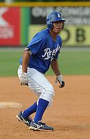 July 22, 2009: Catcher Miguel Moctezuma (18) of the Burlington Royals, rookie Appalachian League affiliate of the Kansas City Royals, in a game at Burlington Athletic Stadium in Burlington, N.C. Photo by: Tom Priddy/Four Seam Images