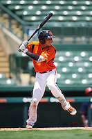 GCL Orioles second baseman Alexis Torres (3) at bat during a game against the GCL Red Sox on August 16, 2016 at the Ed Smith Stadium in Sarasota, Florida.  GCL Red Sox defeated GCL Orioles 2-0.  (Mike Janes/Four Seam Images)