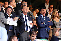 Valencia, Spain. Thursday 19 September 2013<br /> Pictured: Swansea chairman Huw Jenkins (C)<br /> Re: UEFA Europa League game against Valencia C.F v Swansea City FC, at the Estadio Mestalla, Spain,