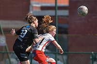 Julie Devos (21) of Zulte Waregem and Clotilde Codden (23) of Woluwe  pictured during a female soccer game between SV Zulte - Waregem and White Star Woluwe on the 10 th and last matchday in play off 2 of the 2020 - 2021 season of Belgian Scooore Womens Super League , saturday 29 of May 2021  in Zulte , Belgium . PHOTO SPORTPIX.BE | SPP | DIRK VUYLSTEKE
