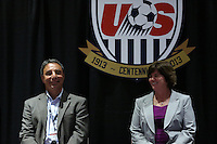 INDIANAPOLIS, IN - January 18, 2013: 1995 and 1999 World Cup coach Tony DiCicco (left) with 1991 World Cup captain and 2003 World Cup coach April Heinrichs. U.S. Soccer hosted a World Cup Coaches and Captains panel at the Indiana Convention Center in Indianapolis, Indiana during the NSCAA Annual Convention.