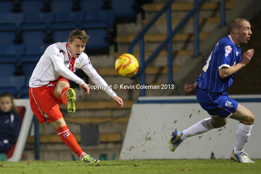 Luke Freeman of Stevenage crosses<br />  - Gillingham v Stevenage - Sky Bet League One - Priestfield, Gillingham - 26th November 2013. <br /> © Kevin Coleman 2013