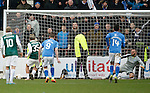Hibs v St Johnstone...30.01.16   Utilita Scottish League Cup Semi-Final, Tynecastle..<br /> Jason Cummings sends Alan Mannus the wrong way from the pnalty spot to put Hibs 1-0 up<br /> Picture by Graeme Hart.<br /> Copyright Perthshire Picture Agency<br /> Tel: 01738 623350  Mobile: 07990 594431