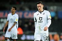 Connor Roberts of Swansea City looks dejected at full time during the Sky Bet Championship match between Swansea City and Derby County at the Liberty Stadium in Swansea, Wales, UK. Saturday 08 February 2020