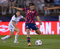 EAST HARTFORD, CT - JULY 1: Tobin Heath #7 of the USWNT takes a shot during a game between Mexico and USWNT at Rentschler Field on July 1, 2021 in East Hartford, Connecticut.