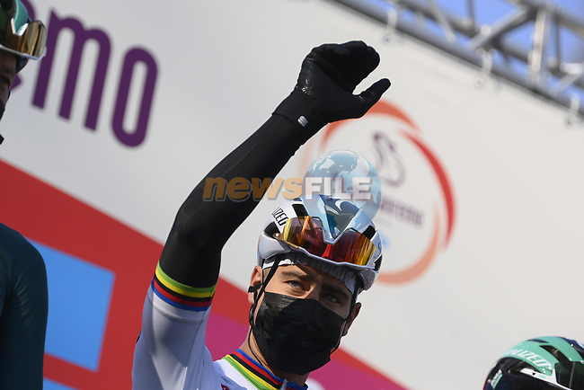 Peter Sagan (SVK) Bora-Hansgrohe at sign on before the start of the 112th edition of Milan-San Remo 2021, running 299km from Milan to San Remo, Italy. 20th March 2021. <br /> Photo: LaPresse/Fabio Ferrari | Cyclefile<br /> <br /> All photos usage must carry mandatory copyright credit (© Cyclefile | LaPresse/Fabio Ferrari)