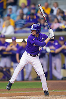 LSU Tigers outfielder Mark Laird #9 at bat against the Auburn Tigers in the NCAA baseball game on March 23, 2013 at Alex Box Stadium in Baton Rouge, Louisiana. LSU defeated Auburn 5-1. (Andrew Woolley/Four Seam Images).