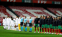 14th November 2020, The Estádio da Luz, Lisbon, Portugal; Nations League International football, Portugal versus France; Players of Portugal and France stand for their anthem