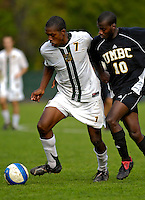 17 October 2007: The University of Vermont Catamounts' T.J. Gore, a Sophomore from Macomb, MI, in action against the University of Maryland Retreivers at Historic Centennial Field in Burlington, Vermont. The Catamounts and Retrievers battled to a scoreless, double-overtime tie...Mandatory Photo Credit: Ed Wolfstein Photo