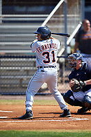 Detroit Tigers Alexander Fernandez Jr. (31) bats during a minor league Spring Training game against the New York Yankees on March 22, 2017 at the Yankees Complex in Tampa, Florida.  (Mike Janes/Four Seam Images)