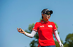 Hyo-Joo Kim of Korea reacts during the Hyundai China Ladies Open 2014 at World Cup Course in Mission Hills Shenzhen on December 14 2014, in Shenzhen, China. Photo by Xaume Olleros / Power Sport Images
