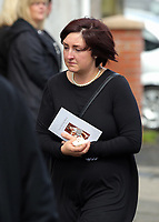 """COPY BY TOM BEDFORD<br /> Pictured: Mourners after the service outside Jerusalem Baptist Chapel in Merthyr Tydfil, Wales, UK. Friday 18 August 2017<br /> Re: The funeral of a toddler who died after a parked Range Rover's brakes failed and it hit a garden wall which fell on top of her will be held today at Jerusalem Baptist Chapel in Merthyr Tydfil.<br /> One year old Pearl Melody Black and her eight-month-old brother were taken to hospital after the incident in south Wales.<br /> Pearl's family, father Paul who is The Voice contestant and mum Gemma have said she was """"as bright as the stars""""."""