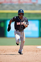 Jupiter Hammerheads third baseman Rodrigo Ayarza (6) runs to third base during a game against the Clearwater Threshers on April 11, 2018 at Spectrum Field in Clearwater, Florida.  Jupiter defeated Clearwater 6-4.  (Mike Janes/Four Seam Images)