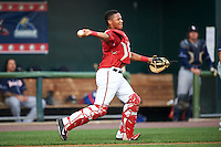 Harrisburg Senators catcher Pedro Severino (4) throws to second during a game against the New Hampshire Fisher Cats on July 21, 2015 at Metro Bank Park in Harrisburg, Pennsylvania.  New Hampshire defeated Harrisburg 7-1.  (Mike Janes/Four Seam Images)