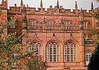 Arbury Hall--garden front. Originally built in 1586 as Elizabethan mansion in Warwickshire, England. Rebuilt by Sir Roger Newdigate in ornate Gothic style in 1776.