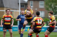 Poole of Richmond Rugby catches the ball during the Greene King IPA Championship match between London Scottish Football Club and Richmond at Richmond Athletic Ground, Richmond, United Kingdom on 27 April 2019. Photo by Carlton Myrie.