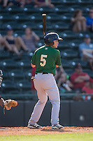 Patrick Biondi (5) of the Savannah Sand Gnats at bat against the Hickory Crawdads at L.P. Frans Stadium on June 14, 2015 in Hickory, North Carolina.  The Crawdads defeated the Sand Gnats 8-1.  (Brian Westerholt/Four Seam Images)