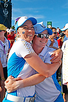 6th September 2021: Toledo, Ohio, USA;  Leona Maguire of Team Europe gets a hug from Sophia Popov as Team Europe celebrates winning the Solheim Cup on September 6, 2021 at Inverness Club in Toledo, Ohio.