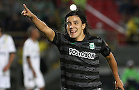 BOGOTA -COLOMBIA, 1 -SEPTIEMBRE-2014. Sherman Cardenas de Atletico Nacional celebra su gol convertido de tiro penalty contra La Equidad Seguros durante partido de la  septima  fecha  de La Liga Postobón 2014-2. Estadio Nemesio Camacho El Campin . / Sherman Cardenas of Atletico Nacional celebrates his penalty shot goal scored  against the  Equidad F.C.    during match of the 7th date of Postobon  League 2014-2. El Campin  Stadium. Photo: VizzorImage / Felipe Caicedo / Staff