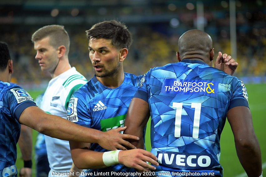 during the Super Rugby match between the Hurricanes and Blues at Sky Stadium in Wellington, New Zealand on Saturday, 7 March 2020. Photo: Dave Lintott / lintottphoto.co.nz