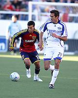 Javier Morales and Davy Arnaud in the 0-0 draw at Rice Eccles Stadium in Salt Lake City, Utah on June 7, 2008.