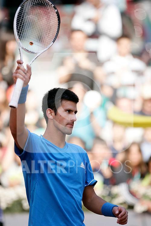 Serbia's Novak Djokovic reacts during his Madrid Open quarter final match. May 15, 2009. (ALTERPHOTOS/Alvaro Hernandez)