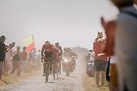 Thomas De Gendt (BEL/Lotto Soudal) emerging from the dust on pavé sector #6<br /> <br /> Stage 9: Arras Citadelle > Roubaix (154km)<br /> <br /> 105th Tour de France 2018<br /> ©kramon