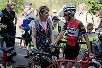 Richie Porte (AUS/Trek-Segafredo) meeting up with former british cyclist, now journalist Philippa York (born Robert Millar) ahead of the stage<br /> <br /> Stage 5: Boën-sur-Lignon to Voiron (201km)<br /> 71st Critérium du Dauphiné 2019 (2.UWT)<br /> <br /> ©kramon