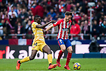 Saul Niguez Esclapez (R) of Atletico de Madrid fights for the ball with Michael Olunga Ogada of Girona FC during the La Liga 2017-18 match between Atletico de Madrid and Girona FC at Wanda Metropolitano on 20 January 2018 in Madrid, Spain. Photo by Diego Gonzalez / Power Sport Images