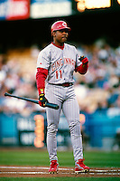 Barry Larkin of the Cincinnati Reds participates in a Major League Baseball game at Dodger Stadium during the 1998 season in Los Angeles, California. (Larry Goren/Four Seam Images)