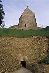 La Hougue Bie Neolithic tomb Jersey The Channel islands UK. Christian chapel church build above Notre Dame de la Clarté 2000s