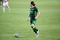 CARSON, CA - OCTOBER 07: Jorge Villafana #4 of the Portland Timbers moves with the ball during a game between Portland Timbers and Los Angeles Galaxy at Dignity Heath Sports Park on October 07, 2020 in Carson, California.