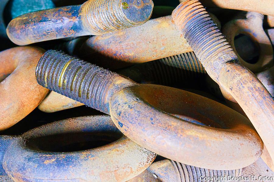 Vintage Eye Bolts.  Steam geneator,steam turbine, Seattle, WA, Georgetown Steam Plant, a National Historic Landmark in Seattle, WA USA
