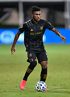 LAKE BUENA VISTA, FL - JULY 18: José Cifuentes #11 of LAFC controls the ball during a game between Los Angeles Galaxy and Los Angeles FC at ESPN Wide World of Sports on July 18, 2020 in Lake Buena Vista, Florida.