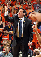 Feb. 16, 2011; Charlottesville, VA, USA; Duke Blue Devils head coach Mike Krzyzewski reacts to a call during the first half of the game against the Virginia Cavaliers at the John Paul Jones Arena.  Credit Image: © Andrew Shurtleff