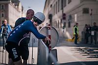 Michael Garrison (USA)<br /> <br /> post-race battlefield in the finish zone<br /> <br /> MEN JUNIOR INDIVIDUAL TIME TRIAL<br /> Hall-Wattens to Innsbruck: 27.8 km<br /> <br /> UCI 2018 Road World Championships<br /> Innsbruck - Tirol / Austria