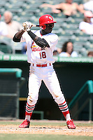 April 15, 2009:  Third baseman Jermaine Curtis (18) of the Palm Beach Cardinals, Florida State League Class-A affiliate of the St. Louis Cardinals, during a game at Roger Dean Stadium in Jupiter, FL.  Photo by:  Mike Janes/Four Seam Images