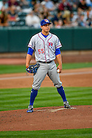 Round Rock Express starting pitcher Derek Holland (55) during the game against the Salt Lake Bees in Pacific Coast League action at Smith's Ballpark on August 15, 2016 in Salt Lake City, Utah. Round Rock defeated Salt Lake 5-4.  (Stephen Smith/Four Seam Images)